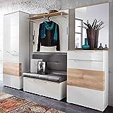 e-combuy Möbel Garderoben-Set in weiß Hochglanz, Buche bestehend aus Garderobenschrank, Garderobenpaneel, Bank, Spiegel und Schuhschrank, Gesamtmaß Breite 260 cm Höhe 200 cm Tiefe 40 cm