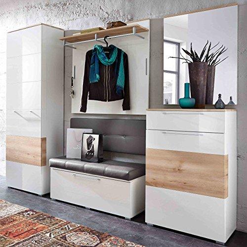 e-combuy Möbel Garderoben-Set in weiß Hochglanz, Buche bestehend aus Garderobenschrank, Garderobenpaneel, Bank, Spiegel und Schuhschrank, Gesamtmaß Breite 260 cm Höhe 200 cm Tiefe 40 cm -