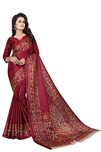 Crazy Cotton Silk Saree With Blouse Piece(Kalam.Wine_Maroon Free Size)