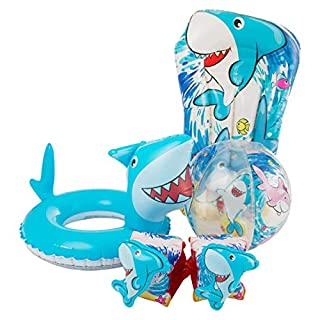 Alert Splash 3D Hai Kinder Schwimmreifen Luftmatratze Schwimmring Schwimmflügel Wasserball Set