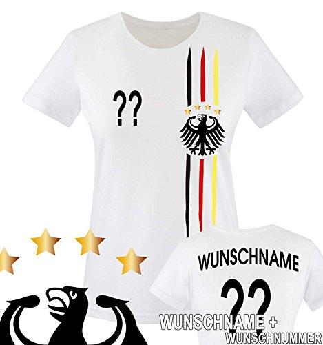Comedy Shirts - WELTMEISTER 2014 | M1 | VORNE + HINTEN | WUNSCH - Damen T-Shirt - Weiss / Schwarz-Rot-Gelb Gr. S