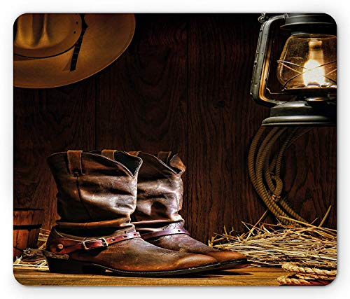Western Mouse Pad, Authentic Western Riding Tools Shoes in Vintage Ranch Barn with Nostalgic Lantern Print, Standard Size Rectangle Non-Slip Rubber Mousepad, Brown Brown Ranch