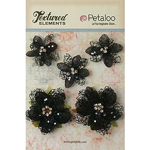 Petaloo-Fiori di carta ruvida Elements con strass, colore: nero
