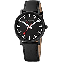 Mondaine evo2 40 mm sapphire  Watch with St. Steel IP black Case black Dial and black leather with black stitches Strap MSE.40121.LB