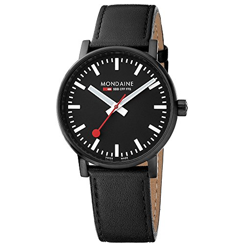 Mondaine Men's evo2 40 mm sapphire  Watch with St. Steel IP black Case black Dial and black leather with black stitches Strap MSE.40121.LB