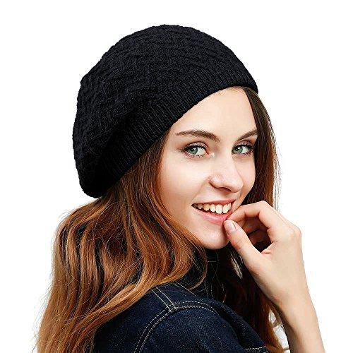 JULY SHEEP Cappello basco da donna, fatto a maglia intrecciata in lana merino, basco francese invernale e autunnale a tinta unita Black Taglia unica