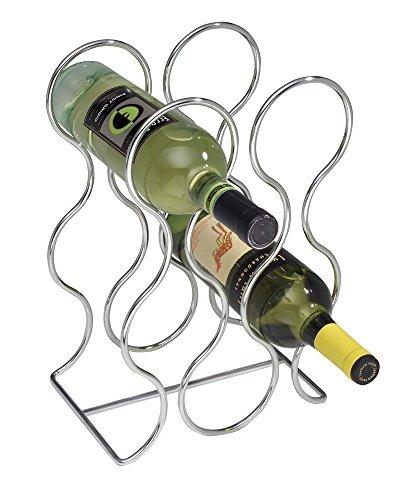 Mdesign portabottiglie vino per 6 bottiglie – scaffale bottiglie vino design cromo – moderno espositore vini ideale per ogni cucina – per diverse bottiglie di uguale dimensione