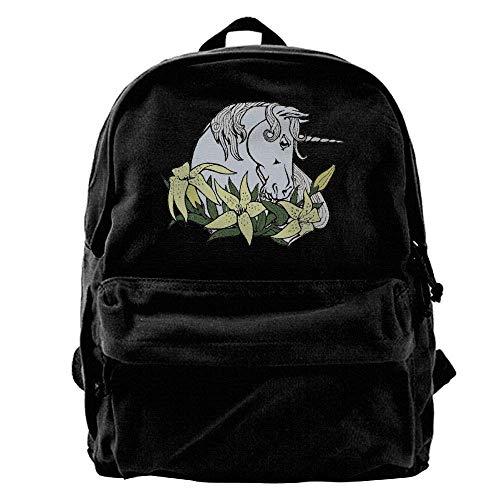 Rucksäcke, Daypacks,Taschen, 50{f0250ae43bf9e413252334f0d7b5a0aec889ebae77405cc47c9afcd227827057} Off Unisex Classic Canvas Backpack Unicorn Unique Print Style,Fits 14 Inch Laptop,Durable,Black