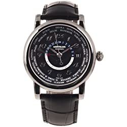 MONTBLANC STAR COLLECTION 106464 GENTS BLACK CALFSKIN STAINLESS STEEL CASE WATCH