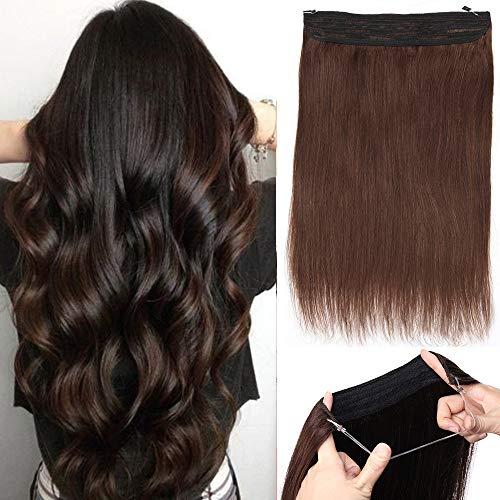 Silk-co Extension Cheveux A Double Fil Réglable 100% Cheveux Humains Naturels Epais 120G Invisible Extension Fil Transparent Sans Clips - 22 Pouces[#2 Brun Foncé]
