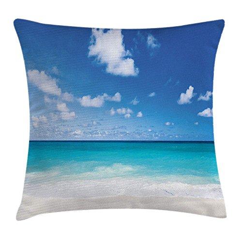 ushion Cover, Tropical Exotic Sandy Beach Caribbean Sea Bay Barbados Coastline Summertime, Decorative Square Accent Pillow Case, Blue Aqua Coconut Size:16 X 16 Inches/40cm x 40cm ()