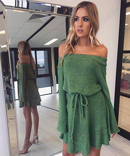 Zhaoyun Donna Maglione invernale delle signore fuori dal vestito corto della spalla Eleganti manicotti lunghi di modo casuale Verde