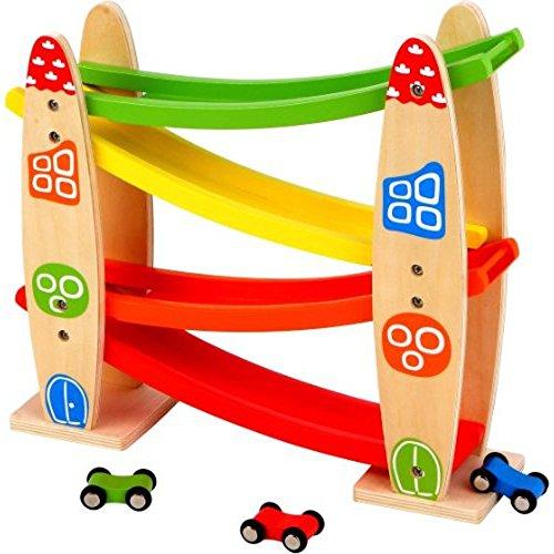 Spielmaus 41502851 Holz Kleine Rollbahn mit Autos