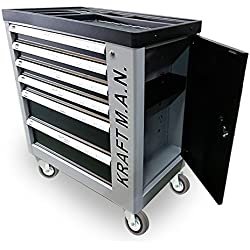 K.R.Man Chariot d'atelier professionnel avec 245 outils, roues, armoire latérale, fermeture de sécurité dans chaque tiroir et fermeture centrale avec clé