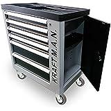 Carro de taller profesional con herramientas 245pzs incorporadas, con ruedas, armario lateral, cierre