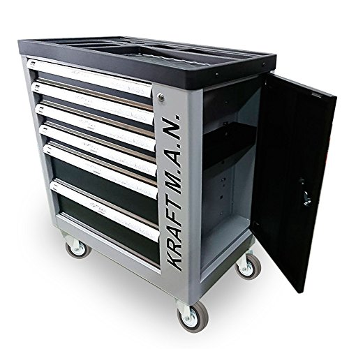K.R.MAN - Carrello da officina professionale con 245 attrezzi integrati, con ruote, armadietto laterale, chiusura di sicurezza su ogni cassetto e una serratura centralizzata con chiave