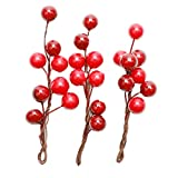 Sharplace Pack of 3 Artificial Frosted Fruits Berry Hairpins Bridal Bridesmaid Hair Accessories - Wing Red and Red, 10 cm