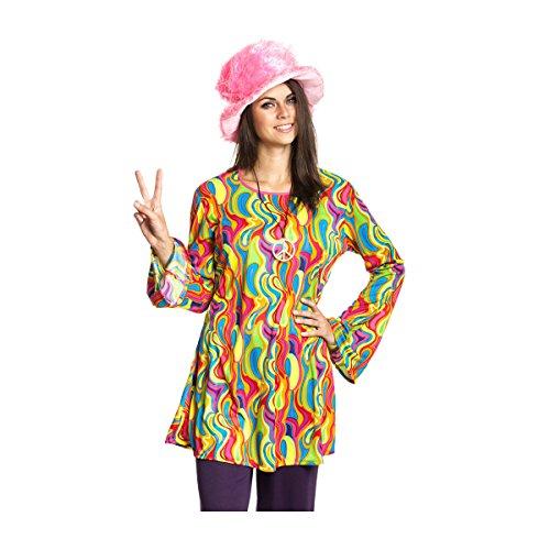 Kostümplanet® Hippie-Kostüm Damen Top Oberteil bunt Sixties 60er Jahre Größe (50 60 Kostüme)