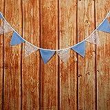 DÉCOCO - Guirnalda de banderines y banderines de Boda de Encaje Azul y Blanco, 12 Unidades, para decoración de Bodas al Aire Libre o Fiestas con Cuerda de 3,2 m