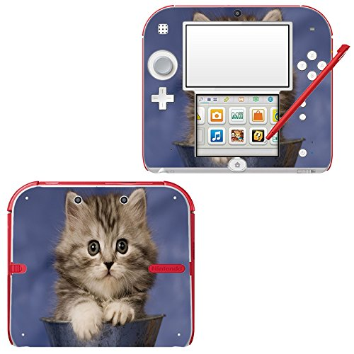 Price comparison product image Cats 076, Cat in Vase, Skin Sticker Vinyl Cover with Leather Effect Laminate and Colorful Design for Nintendo 2DS Sticker