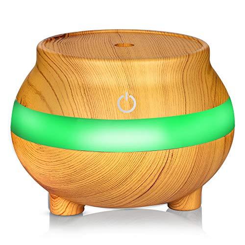 Humidificador Humidificador ultrasónico eléctrico Difusor de aroma 300 ml con niebla fría sin agua Cierre automático silencioso y 7 luces LED de color Grano de madera Ideal para oficinas o dormitorios