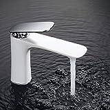 Homelody Weiss Wasserhahn bad Waschtischarmatur Badarmatur Waschbecken Waschtisch Armatur Waschbeckenarmatur Einhebelmischer für Bad