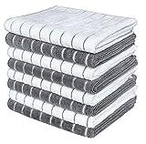 Gryeer 8er-Set Microfaser Geschirrtücher, Weiche, super saugfähige und fussel freie Küchentücher, 45 x 65 cm, Grau und Weiß