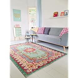 Neuer Teppich | im angesagten Shabby Chic Look | für Wohnzimmer, Schlafzimmer, Kindergarten | Pastell (280 cm x190 cm)