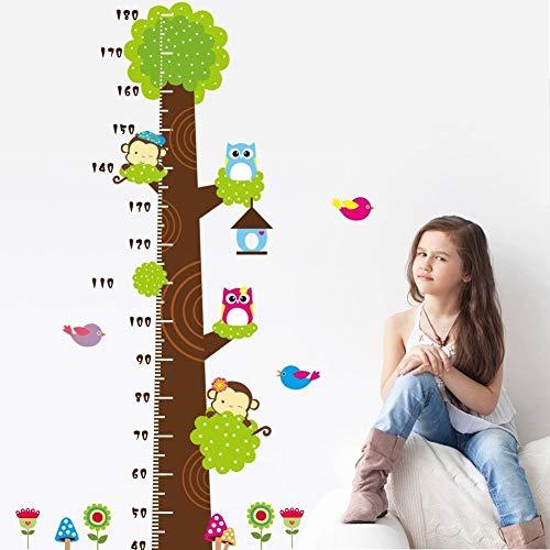 Metro adesivo da parete per registrare l'altezza, a forma di albero con gufi e scimmie, removibile, per misurare la crescita del bambino, decorazione per stanza dei bimbi Owl - 2