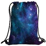 Violetpos Mode Brauch Unisex Turnbeutel Rucksack Sportbeutel Gym Bag Galaxy Galaxie Space Blau