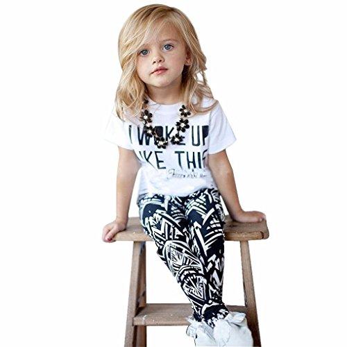 baciby 2016Kid Mädchen Buchstaben Print Short Sleeve Shirt Streifen Hose Kleidung (Boys Dress Christmas Fancy)