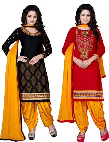 Offer Track Women's Printed Unstitched Regular Wear Salwar Suit Dress Material (Combo pack of 2)(Offers_7102)  available at amazon for Rs.499
