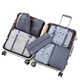 Juego de Organizador de Equipaje Weekender 7PCS Packing Cubes Value Set para Maletas de Viaje, Bolsas de compresión, Bolsas organizadoras de Equipaje (Color: Beige/Azul/Gris/Blanco/Azul Oscuro