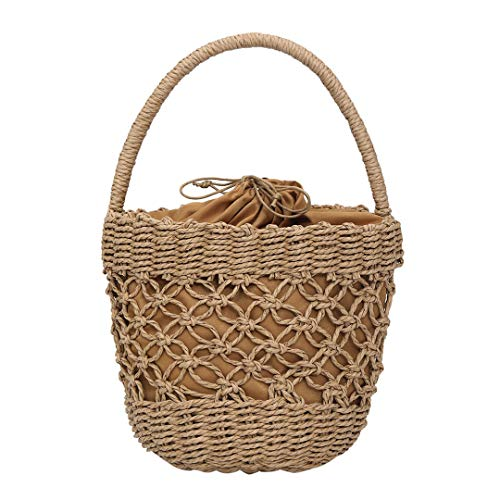 Women's Bohemian Style Stroh gewebte Tasche Women's Summer Beach Schultertasche Solid Color Handtasche Khaki
