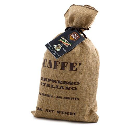 Caffè arabica in confezione regalo natalizia - speciale sacco juta con grani 1kg tostatutra artigianale