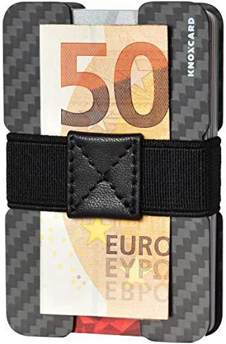 Kreditkartenetui für Herren und Smart Wallet aus echtem Carbon inklusive Money Clip Funktion für Geldscheine - RFID Schutz (Schwarz und Grau)