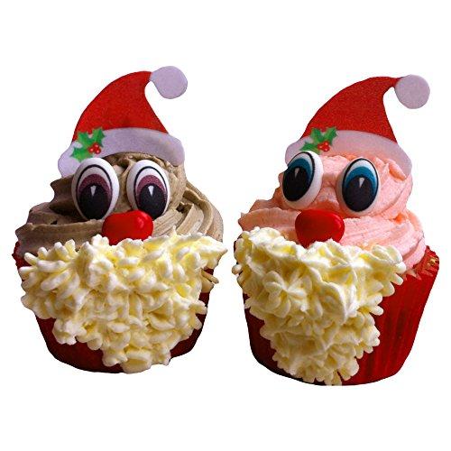 kreieren von 24 Weihnachtsmann Cupcakes. Beinhaltet 24 Paar Augen, 6 Hüte und 6 Schokonasen / Set to create 24 Christmas Santa Cupcakes- including 24 pairs of eyes, 24 santa hats and 24 red chocolate noses (Red Santa Hüte)