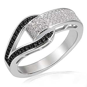Goldmaid Damen-Ring Schnalle PremiumShine 925 Sterlingsilber 79 Zirkonia schwarz-weiß
