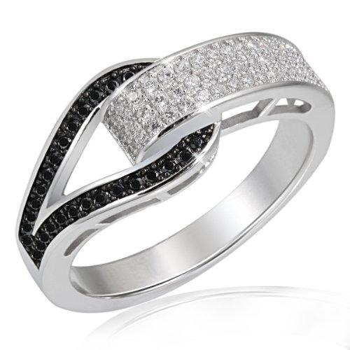 Goldmaid Damen-Ring Schnalle 925 Sterlingsilber 79 Zirkonia schwarz-Weiß Gr. 56