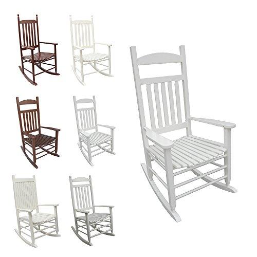 SCHAUKELSTUHL Relaxsessel aus Massivholz / Holz - in weiß o. braun - Wippstuhl Rocking Chair Schwingstuhl im Landhausstil (Sina, weiß)