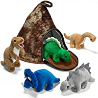 Prextex Casa Volcán de Dinosaurio con 5 Dinosaurios de Peluche - Gran Regalo de Navidad para Niños y Niñas