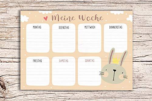 Meine Woche beige sand mit Hasen Motiv - Block A5 Wochenkalender Planer Kinder Wochenplaner
