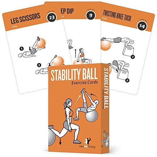 Anzeigen Diagrammen Von Grafiken Und (Newme Fitness Übung Karten Stabilität, Balance Ball–Beinhaltet 6, Total Body Hause Workouts, extra groß, wasserfest, strapazierfähig mit Grafiken & Anleitung, tragbar, 62Karten)