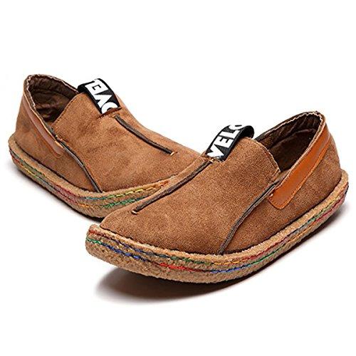 Gracosy mocassino pantofole scarpe da barca, camminando mocassini di viaggio casual flat confortevole in pelle scamosciata rotonda testa slip-on scarpe basse donna marrone 40 eu