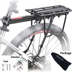 MAIKEHIGH Einstellbare Träger Fahrrad Gepäckträger Fahrradzubehör Ausrüstung Ständer Reitstock Fahrradträger Racks mit Reflektor (Schwarz)