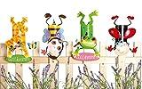 Gilde Zaungäste Zaunhocker Coole Tiere Metall Gartenfigur Gartendeko 4er-Set Katze Biene Frosch Marienkäfer