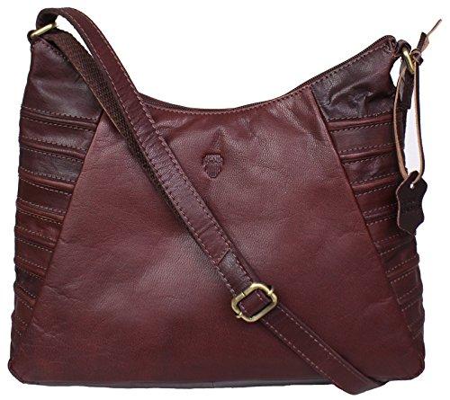 Eli von RICANO, Damen Ledertasche / Handtasche / Umhängetasche aus Lamm Nappa Echtleder in Braun / Kastanienbraun