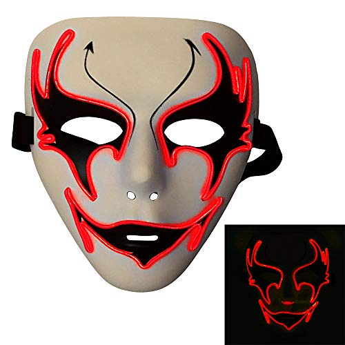 Bonamana Licht leuchten Maske Kostüm EL LED Draht Halloween Maske Tod Grimasse Masken Masquerade - Led Draht Kostüm