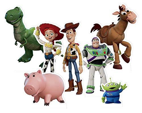 Star Cutouts TT018 Toy Story Toppers Pack (7 Aussparungen) Perfekt für Partys, Events, Hochzeiten, Tischdekorationen und Sammler, inkl. Buzz Lightyear Woody, mehrfarbig