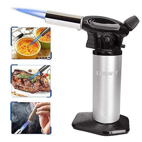 Butane Torch SUMGOTT Gasbrenner Bunsenbrenner Professioneller Edelstahl Küche Flammen für Creme Brulee BBQ (Butangas nicht enthalten) … (Silber)